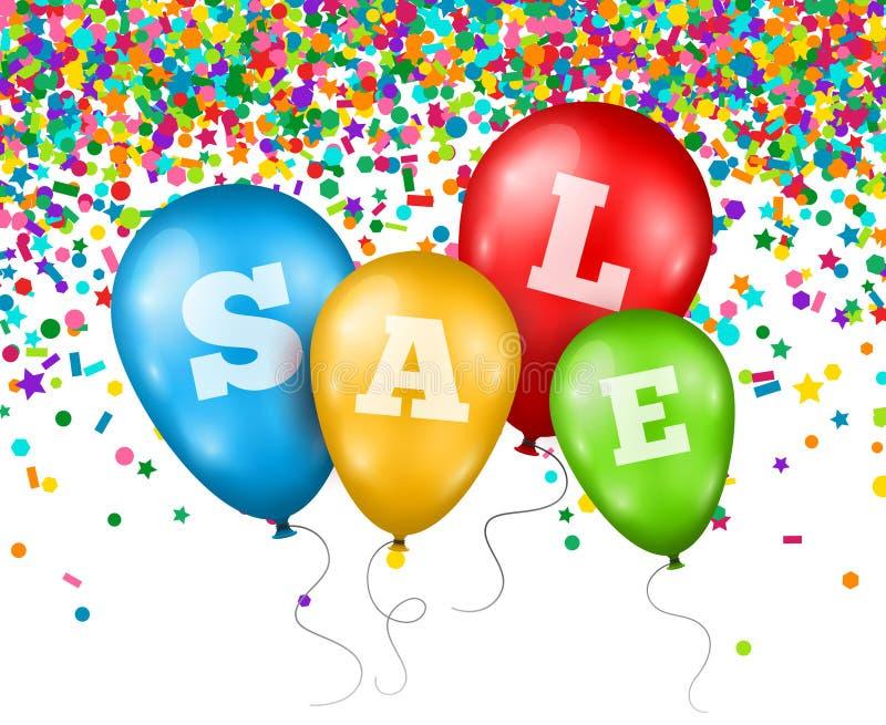 Ballone mit Verkaufsbuchstaben auf Konfetti-Hintergrund lizenzfreie abbildung