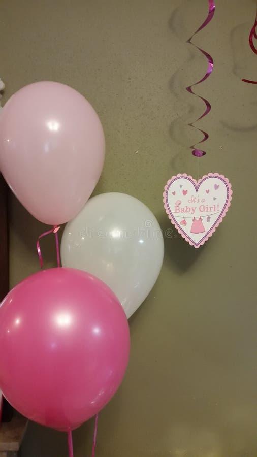 Ballone und Karte an einer Babyparty stockbild