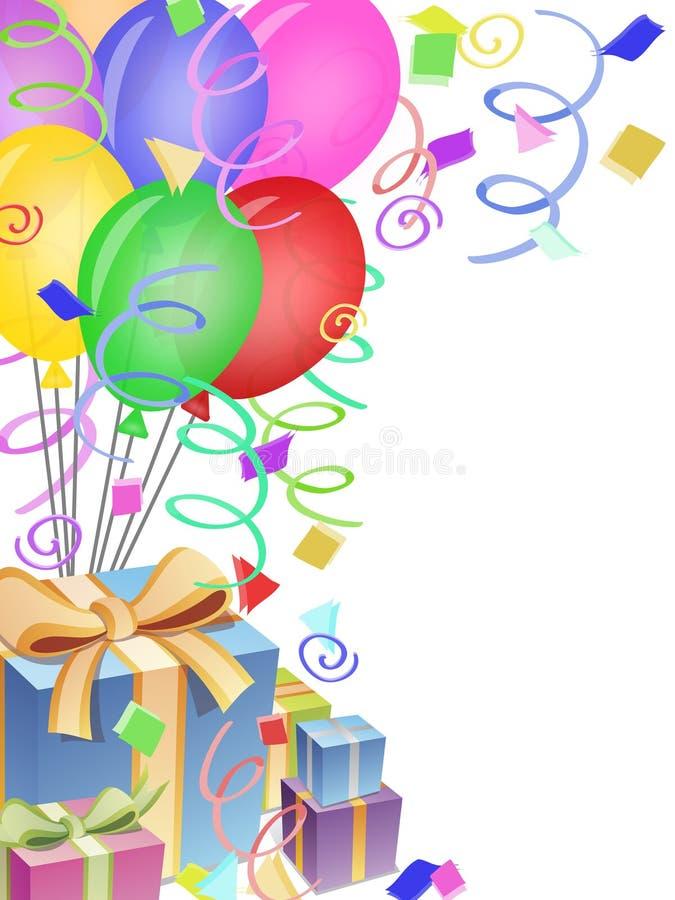 Balloneconfetti-Geschenke für Geburtstagsfeier lizenzfreie abbildung