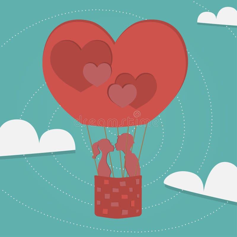 Ballong av förälskelse royaltyfri illustrationer