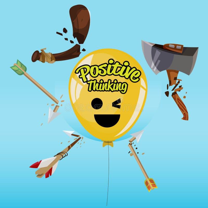 Ballong av positivt tänka som slår vid vapnet och hjälpmedlet och fortfarande fint - royaltyfri illustrationer