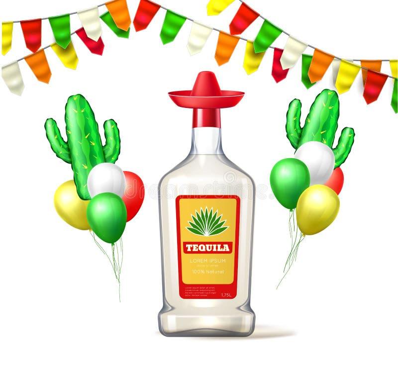 Ballong för bunting för tequila för vektorcincode mayo stock illustrationer