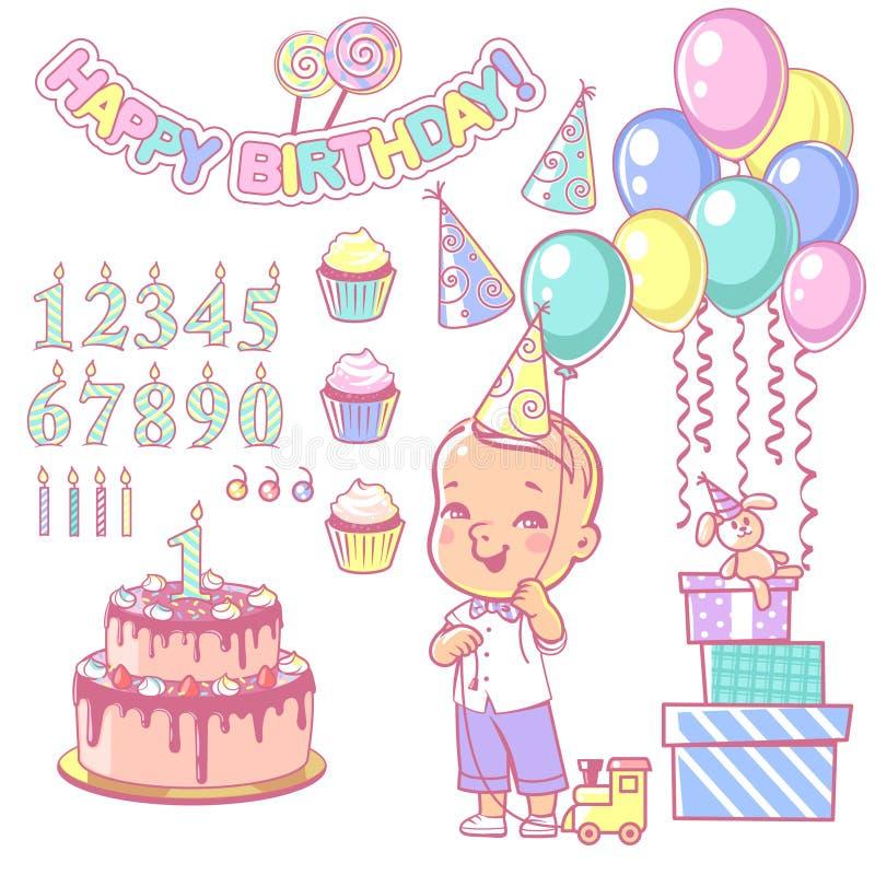 Ballong för konstruktör för födelsedagkaka fastställd och lycklig pojkeinnehav royaltyfri illustrationer