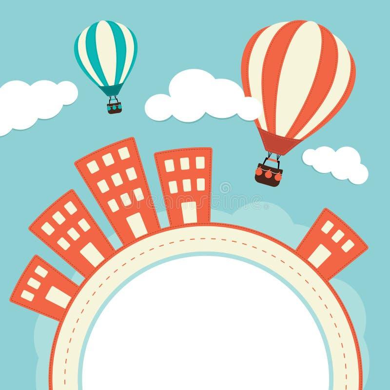 Ballong för varm luft över byggnader royaltyfri illustrationer