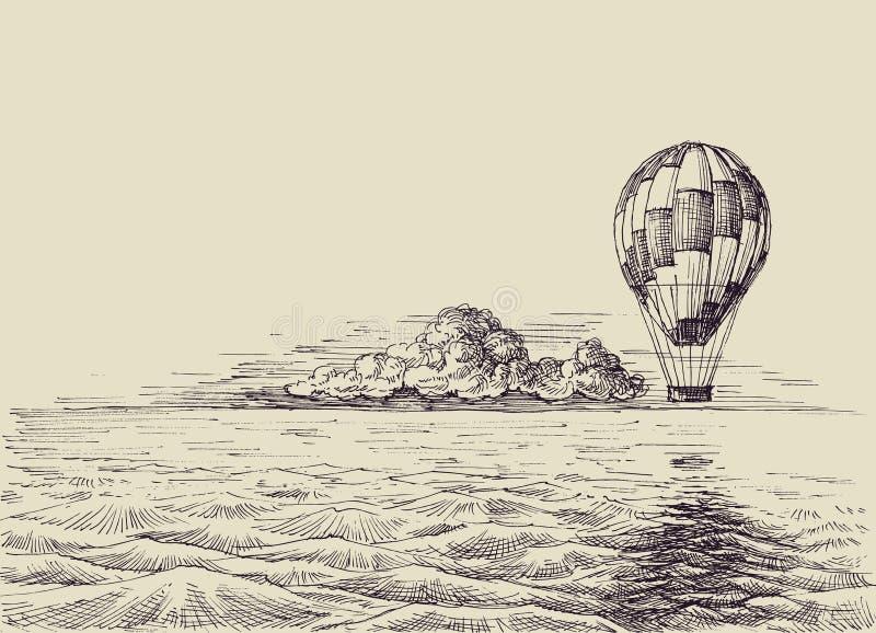 Ballong för varm luft över havet vektor illustrationer