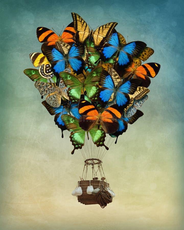 Ballong för varm luft för fjäril arkivbild