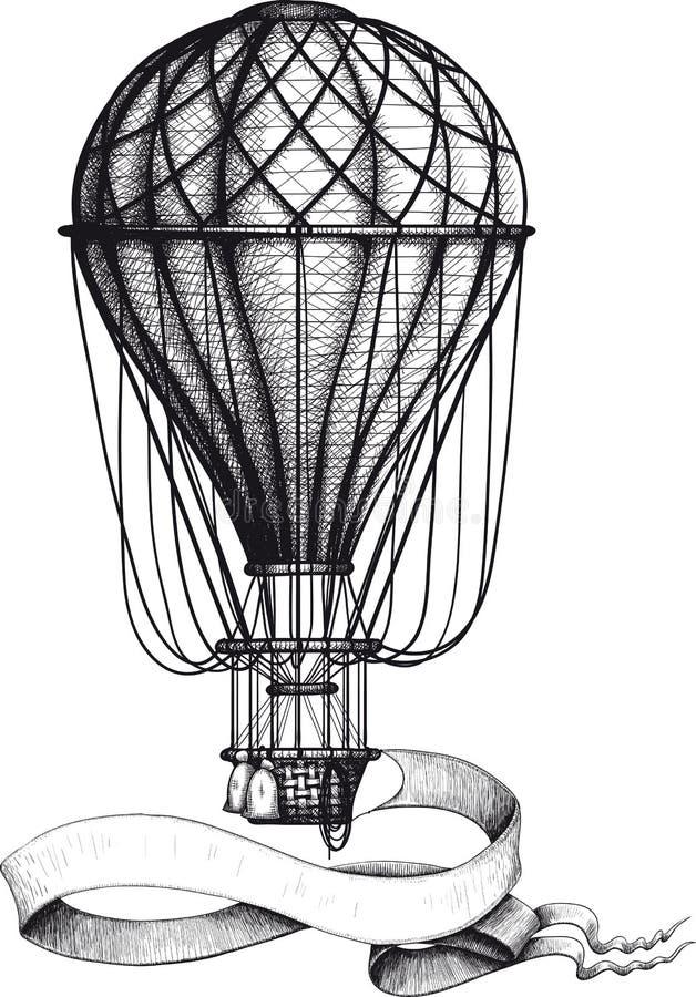 Ballong för varm luft för tappning med banret royaltyfri illustrationer