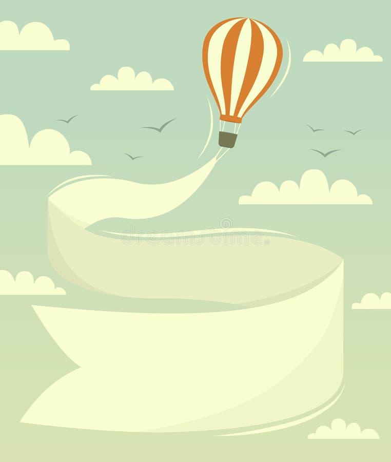 Ballong för varm luft med banret royaltyfri illustrationer