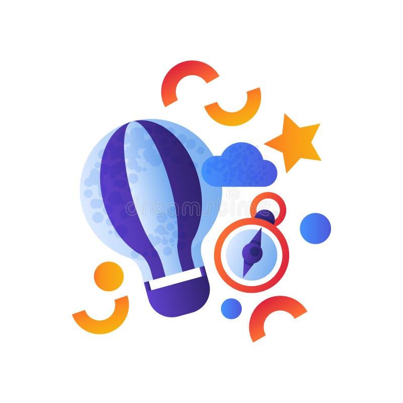 Ballong för varm luft och kompass, illustration för vektor för sommarloppbeståndsdelar som isoleras på en vit bakgrund royaltyfri illustrationer