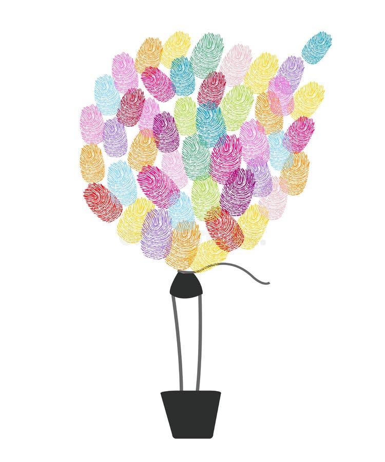 Ballong för varm luft som göras av färgrika fingeravtryck vektor illustrationer