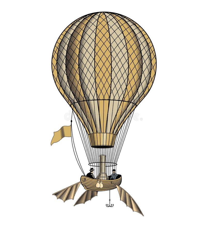 Ballong för varm luft för tappning eller aerostat, vektorillustration vektor illustrationer