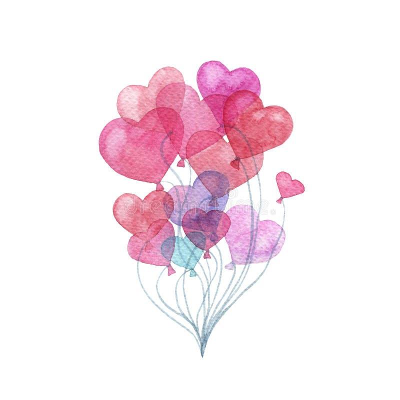 Ballong för varm luft för vattenfärg i formen av en hjärta stock illustrationer
