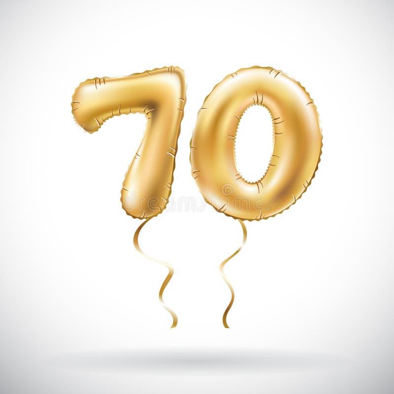 Ballong guld- metallisk sjuttio för nummer 70 för vektor Guld- ballonger för partigarnering Årsdagtecken för lycklig ferie, celeb stock illustrationer