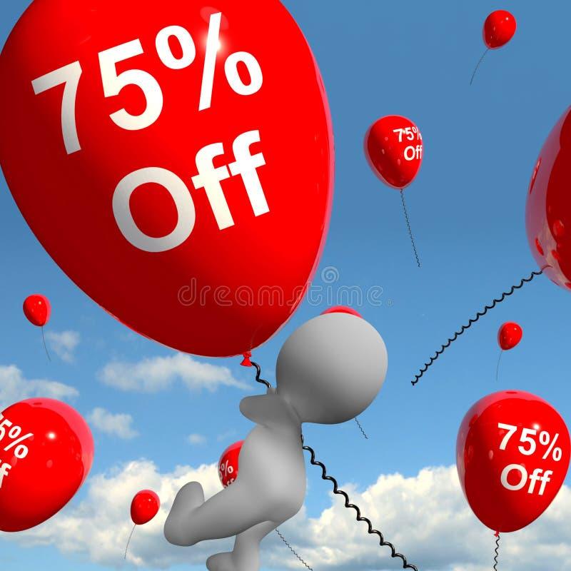 Ballong med 75% av uppvisning av den Sale rabatten av sjuttiofem Perce vektor illustrationer