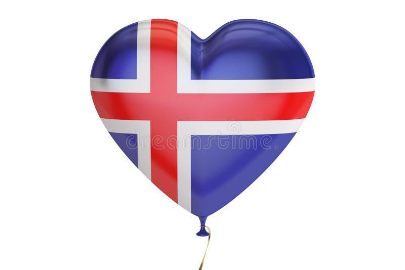 Ballong med den Island flaggan i formen av hjärta, tolkning 3D royaltyfri illustrationer