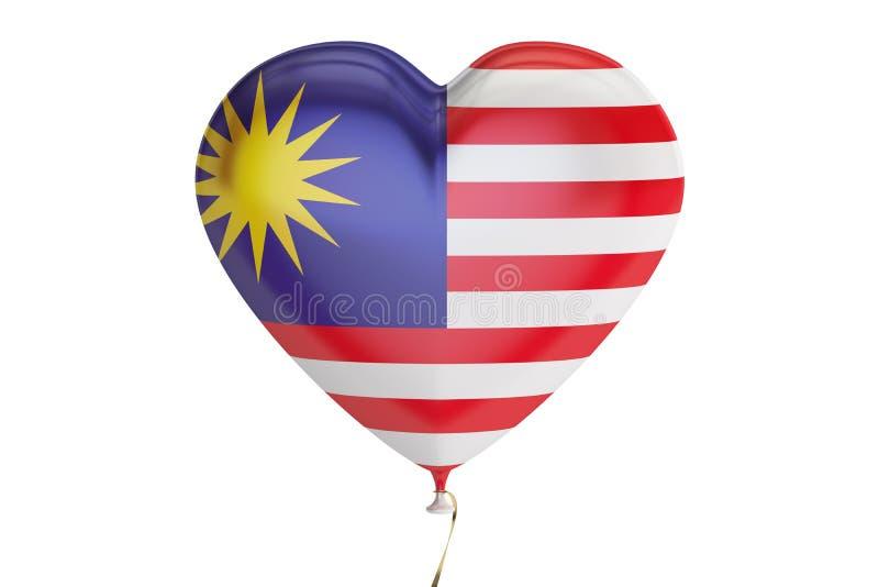 Ballong med den Malaysia flaggan i formen av hjärta, tolkning 3D royaltyfri illustrationer