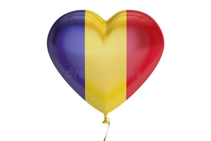 Ballong med den Rumänien flaggan i formen av hjärta, tolkning 3D royaltyfri illustrationer