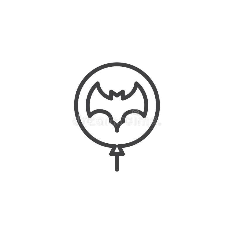 Ballong med slagträöversiktssymbolen vektor illustrationer
