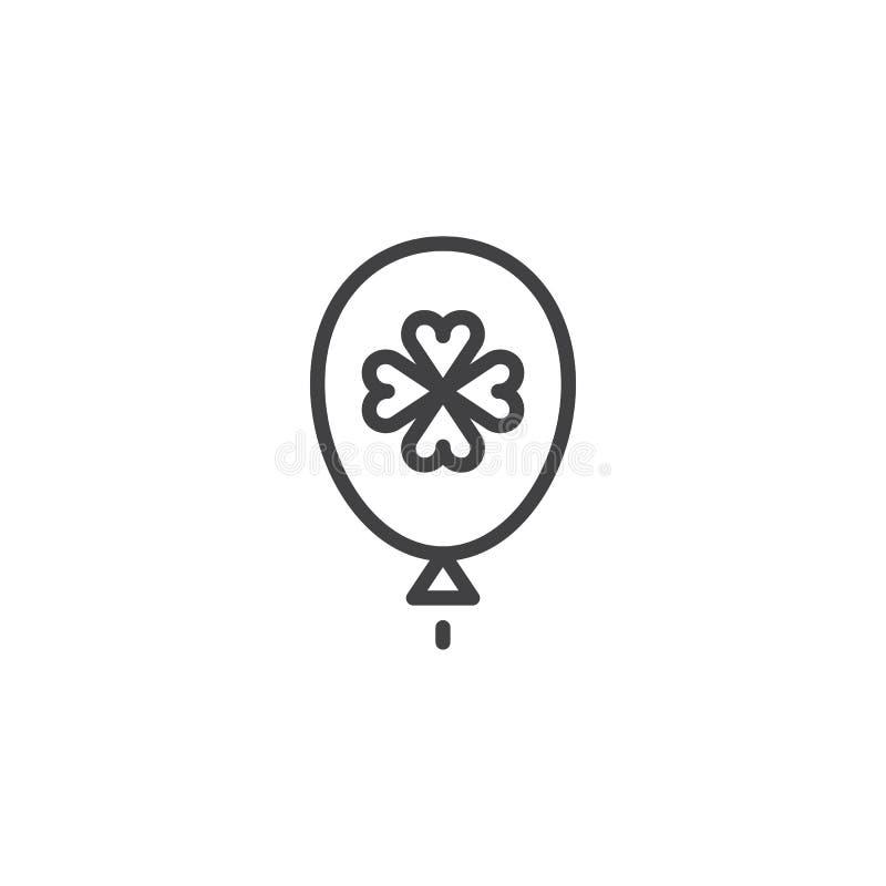 Ballong med växt av släktet Trifolium, treklöveröversiktssymbol vektor illustrationer