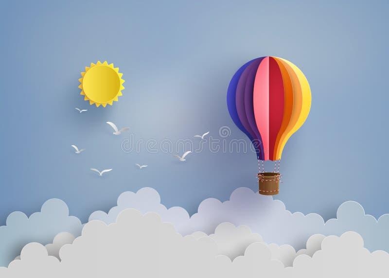 Ballong och moln för varm luft royaltyfri illustrationer