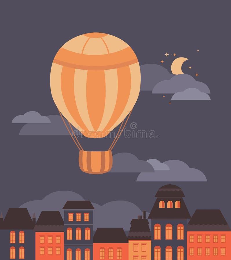 Ballong och staden stock illustrationer