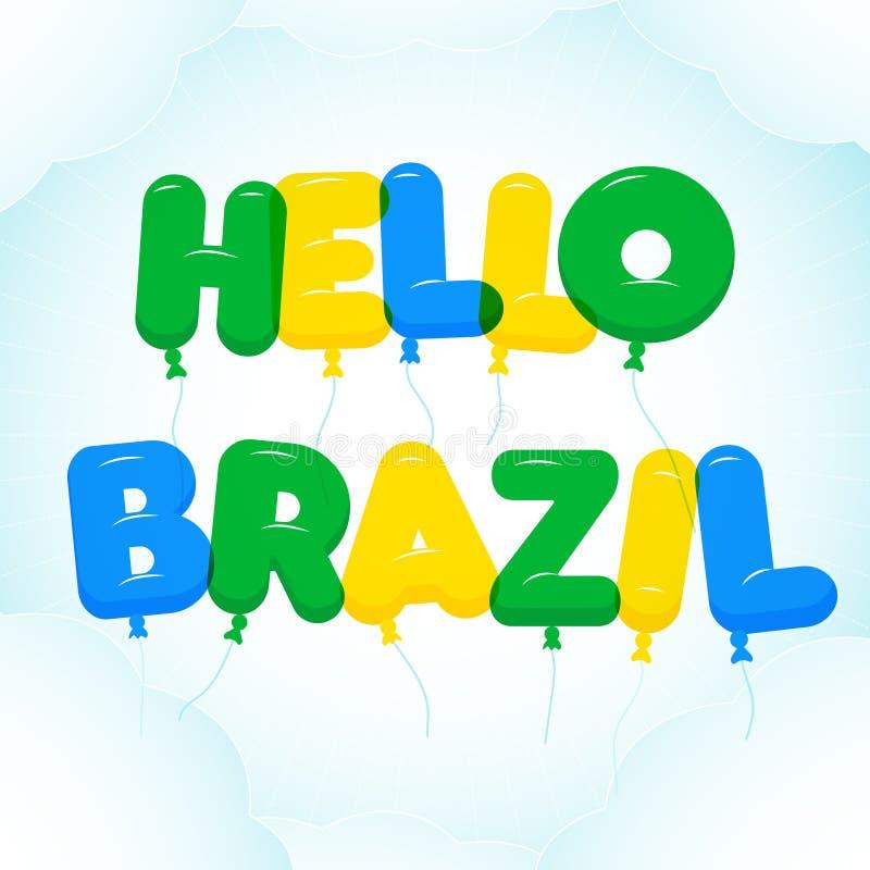 Ballongbokstäver, färgrik HelloBrasilien text vektor illustrationer