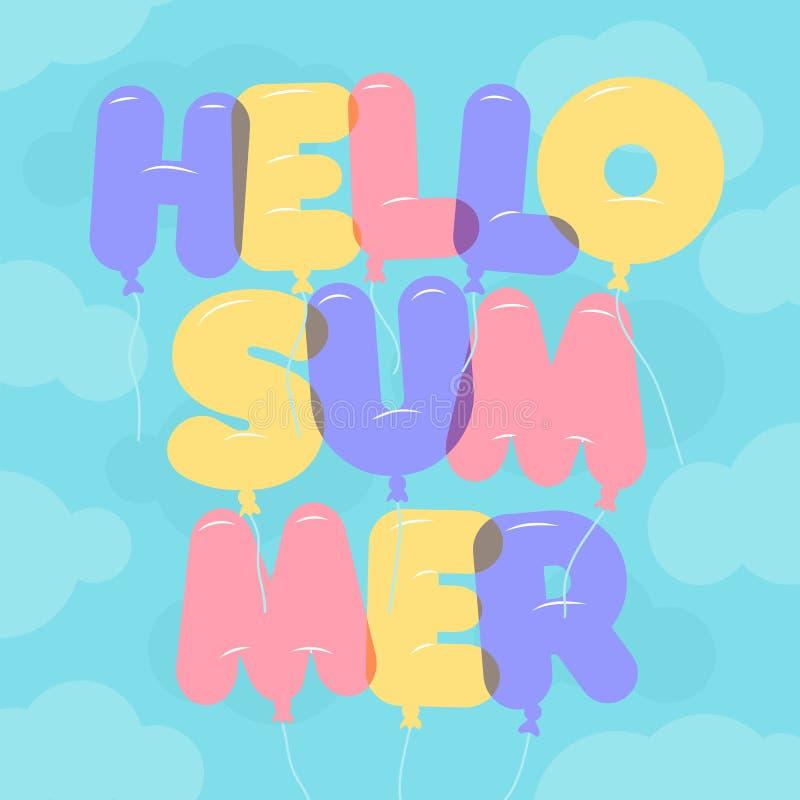 Ballongbokstäver, färgrik Hellosommartext Rundat halv-genomskinligt, bubblabokstäver på en backgroung för blå himmel royaltyfri illustrationer