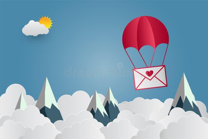 Ballongen för dagen för valentin` s hjärta-formade att sväva i himlen, och härliga berg fördunklar Pappers- konst också vektor fö stock illustrationer