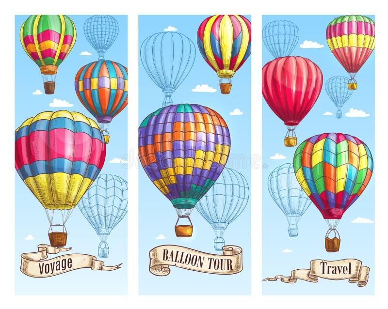 Ballongen för varm luft skissar banret för loppdesign royaltyfri illustrationer
