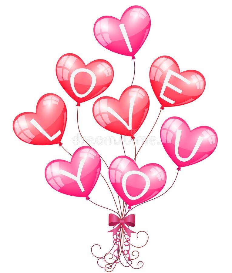 ballonger älskar jag dig vektor illustrationer