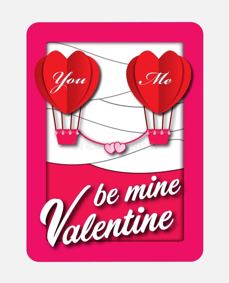 Ballonger av förälskelse Papper för kortet för dagen för valentin` s klippte med hjärtabakgrund Vektorillustrationkonstverk stock illustrationer