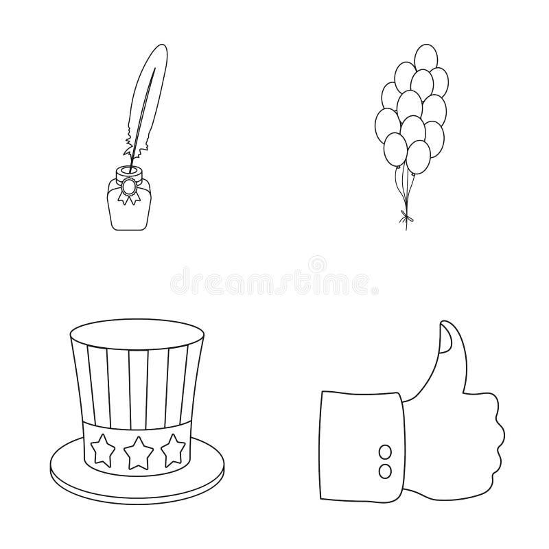 Ballonger bläckhorn med en penna, hatt för farbror Sam s För daguppsättningen för patriot s symbolerna för samlingen i översikt u stock illustrationer