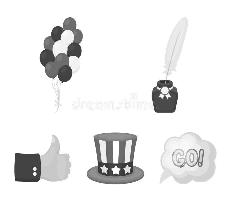 Ballonger bläckhorn med en penna, hatt för ` s för farbror Sam Symbolerna för samling för uppsättning för dag för patriot` s i mo royaltyfri illustrationer