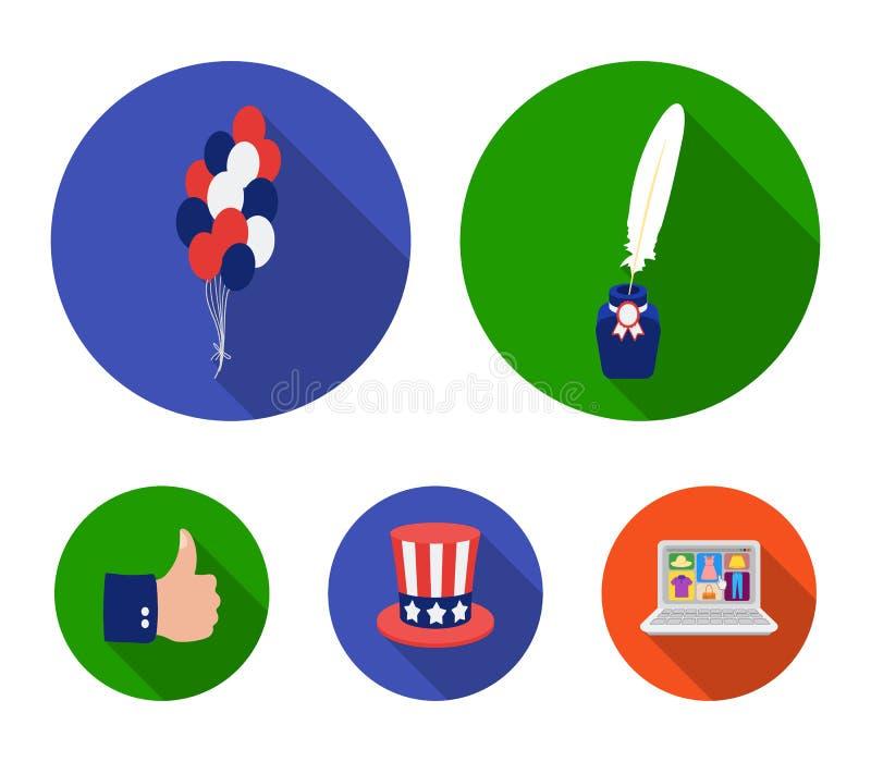Ballonger bläckhorn med en penna, hatt för ` s för farbror Sam Symbolerna för samling för uppsättning för dag för patriot` s i pl vektor illustrationer