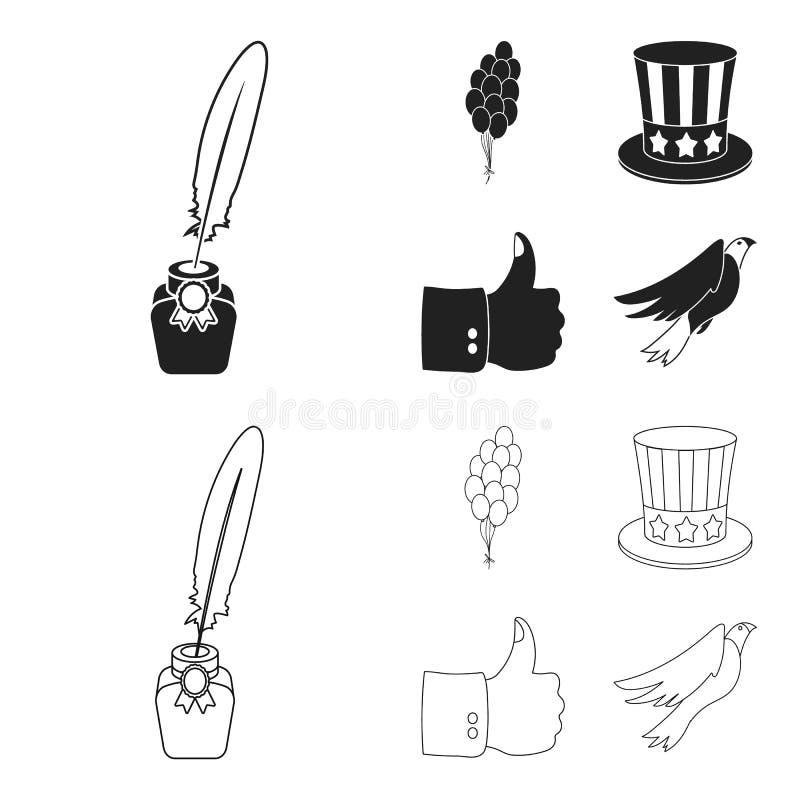 Ballonger bläckhorn med en penna, hatt för ` s för farbror Sam Symbolerna för samling för uppsättning för dag för patriot` s i sv vektor illustrationer