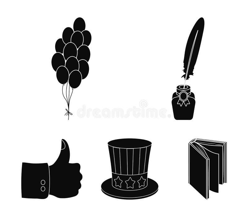 Ballonger bläckhorn med en penna, hatt för ` s för farbror Sam Symbolerna för samling för uppsättning för dag för patriot` s i sv royaltyfri illustrationer