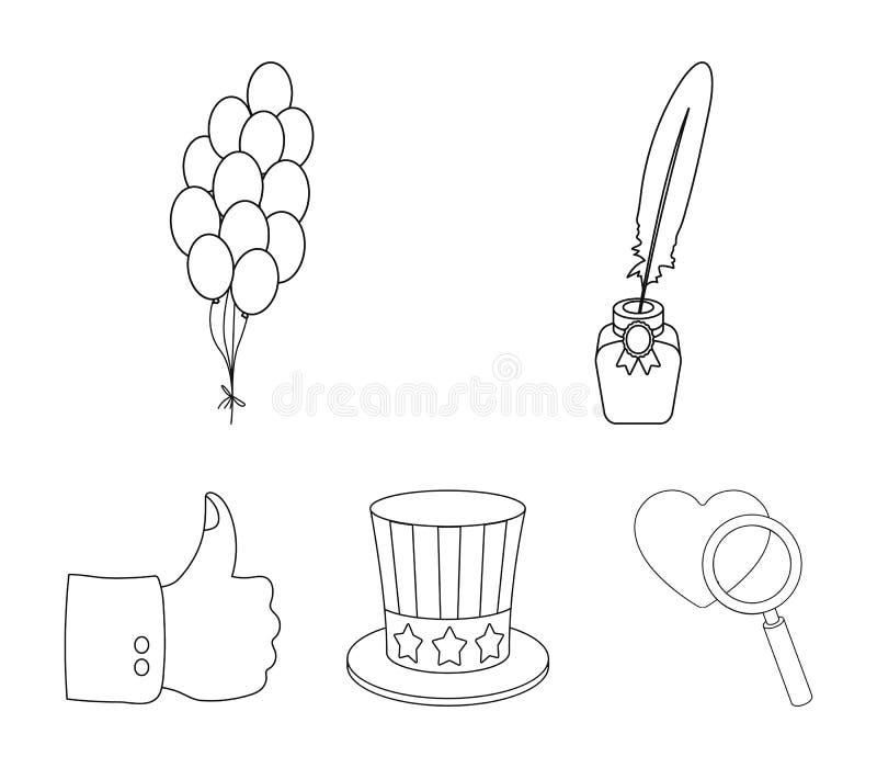 Ballonger bläckhorn med en penna, hatt för ` s för farbror Sam Symbolerna för samlingen för uppsättningen för dagen för patriot`  stock illustrationer