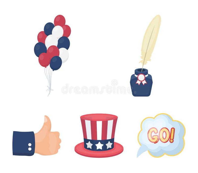 Ballonger bläckhorn med en penna, hatt för ` s för farbror Sam Symbolerna för samlingen för uppsättningen för dagen för patriot`  royaltyfri illustrationer