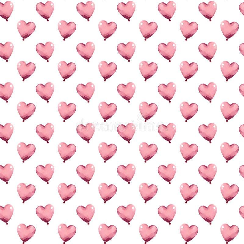 Ballonger för hjärtor för ungevattenfärg rosa royaltyfri illustrationer