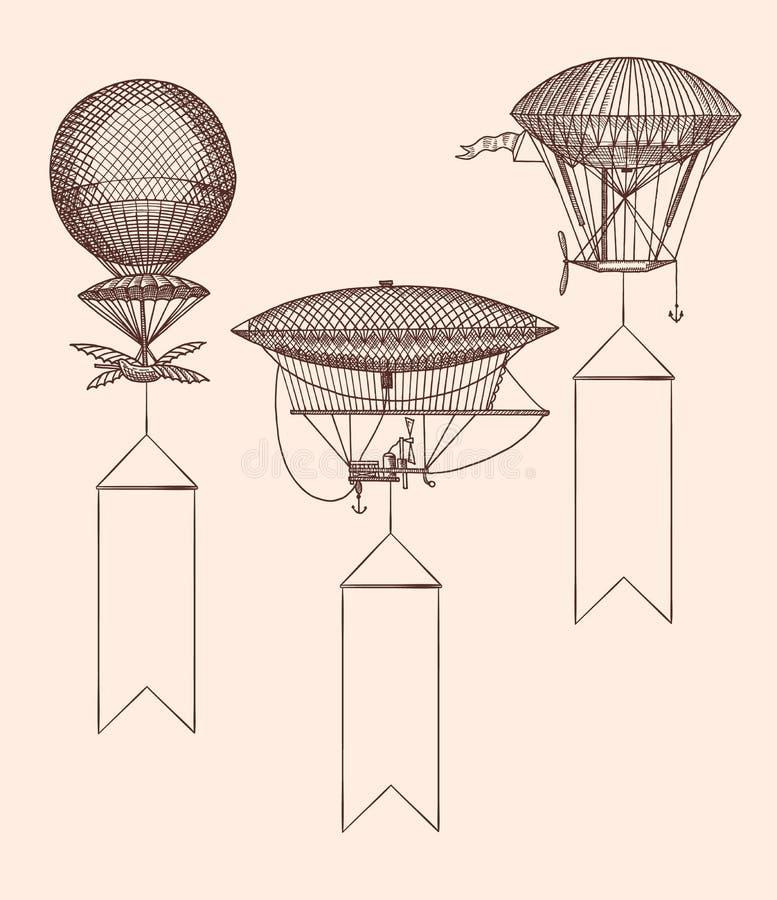 Ballonger för luft för steampunk för vektor fastställd hand drog royaltyfri illustrationer