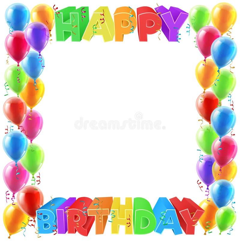 Ballonger för lycklig födelsedag inviterar gränsramen royaltyfri illustrationer