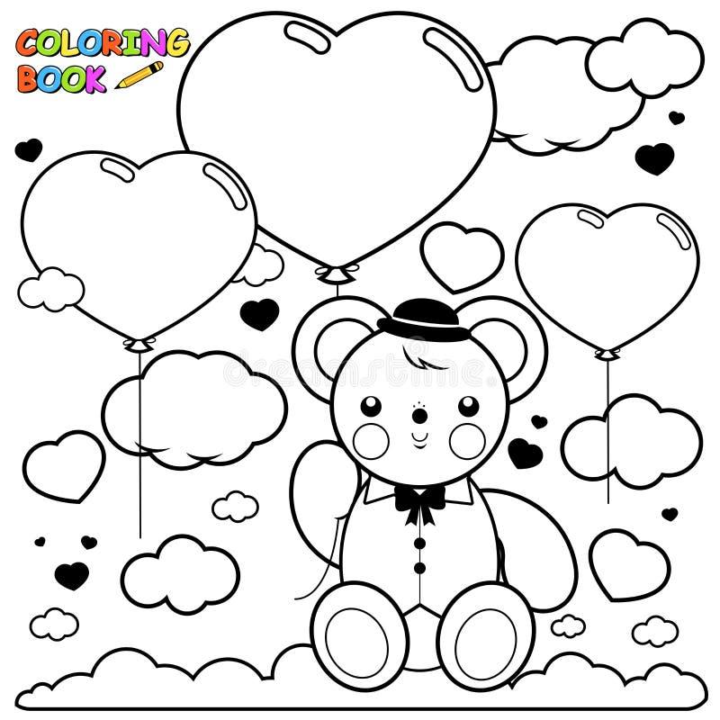 Ballonger för nallebjörn och hjärtai sidan för himmelfärgläggningbok vektor illustrationer