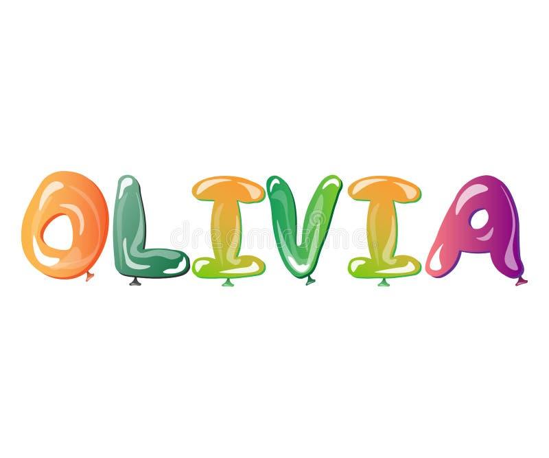 Ballonger för Olivia kvinnlignamn royaltyfri illustrationer