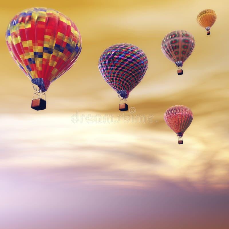 Ballonger för varm luft stock illustrationer