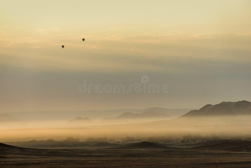Ballonger för varm luft i det Sossusvlei området arkivfoton
