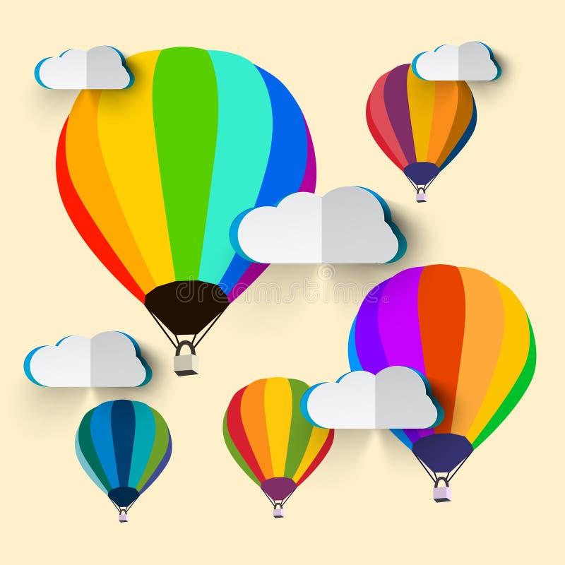 Ballonger för varm luft med moln stock illustrationer