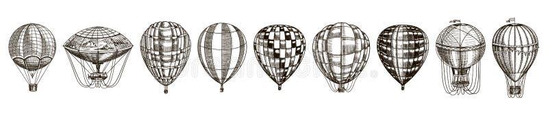 Ballonger f?r varm luft f?r tappning Retro transport för gulligt flyg för sommarferier Den drog inristade handen skissar vektor illustrationer