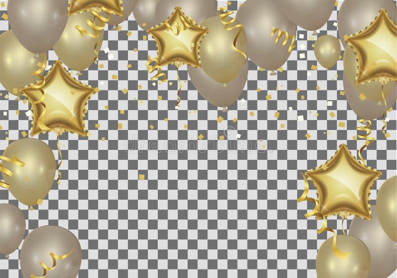ballonger formade stjärnan att hälsa för födelsedag som är guld-, shoppar nu backgrou stock illustrationer