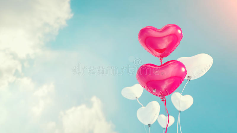 Ballonger hjärta formade ballonger, royaltyfri fotografi