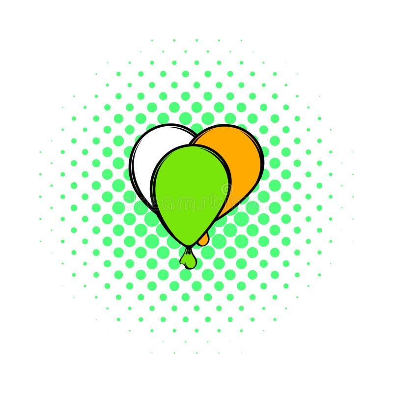 Ballonger i irländsk färgsymbol, komiker utformar royaltyfri illustrationer
